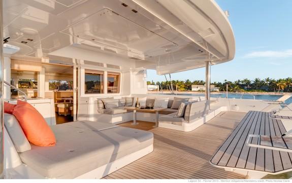 Lagoon 52 Back Deck of Luxury in the Bahamanian Sun!